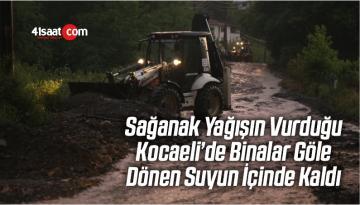 Sağanak Yağışın Vurduğu Kocaeli'de Binalar Göle Dönen Suyun İçinde Kaldı