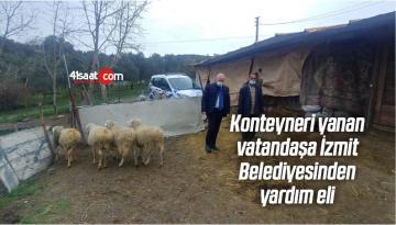 Konteyneri Yanan Vatandaşa İzmit Belediyesinden Yardım Eli