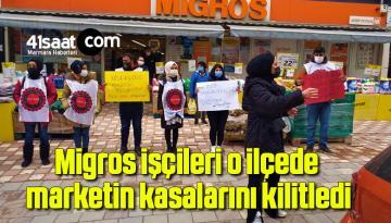 Migros İşçileri O İlçede Marketin Kasalarını Kilitledi