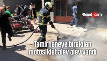 Tamirhaneye Bırakılan Motosiklet Alev Alev Yandı