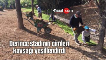 Derince Stadının Çimleri Kavşağı Yeşillendirdi