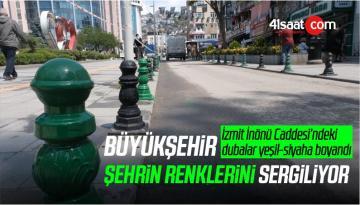 İzmit İnönü Caddesi'ndeki dubalar yeşil-siyaha boyandı
