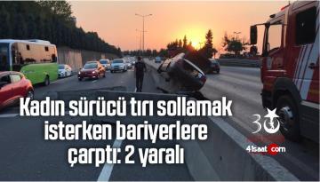 Kadın Sürücü Tırı Sollamak İsterken Bariyerlere Çarptı: 2 Yaralı