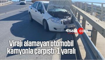 Virajı Alamayan Otomobil Kamyonla Çarpıştı: 1 Yaralı